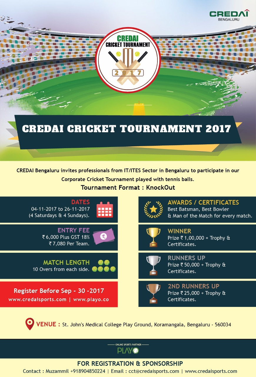 Invitation For Corporate Cricket Tournament: CREDAI Cricket Tournament